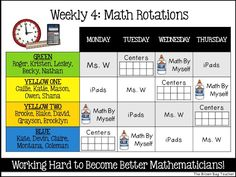 Reading and Math Rotation Boards: Great ideas for organizing math and reading workshop Math Rotations, Math Centers, Center Rotations, Numeracy, Math Rotation Board, Math Classroom, Math Math, Math Games, Math Fractions