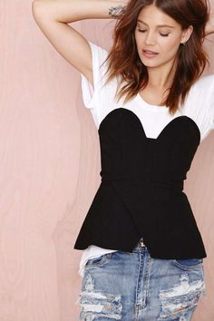 strapless peplum over a tee and black pencil skirt // Pep Talk Top | Shop Clothes at Nasty Gal