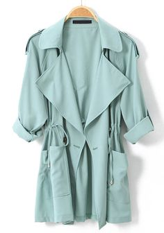 Light Green Long Sleeve Epaulet Drawstring Trench Coat - Sheinside.com