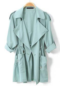 Light Green Long Sleeve Epaulet Drawstring Trench Coat - Sheinside.com