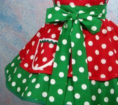 full skirt Christmas apron