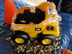 Reuse your kids toys for cheap birthday party themes... Construction birthday party!