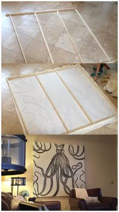 This is an awesome idea! I can't wait to make one for my living room! DIY a Shower Curtain Into Awesome Wall Art On A Budget Living Room Decor On A Budget, Diy Home Decor On A Budget, Living Room Art, Decorating Your Home, Decorating Ideas, Diy Wand, Diy Furniture On A Budget, Shower Curtain Art, Shower Curtains