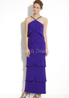 Attractive Long Chiffon Strapless Natural Waist Evening Gowns