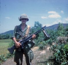 Soldier of the Americal Division with an M60 ~ Vietnam War