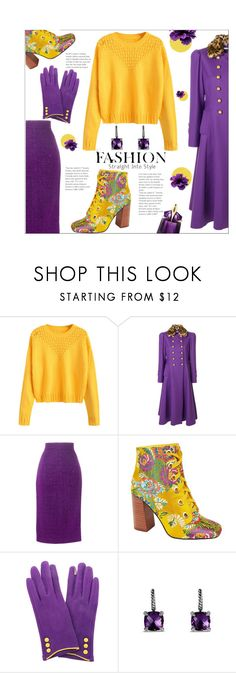 """Yellow & Ultraviolet"" by annoula-g ❤ liked on Polyvore featuring VIVETTA, Daizy Shely, Privileged, Occasionally Made, David Yurman and Thierry Mugler"