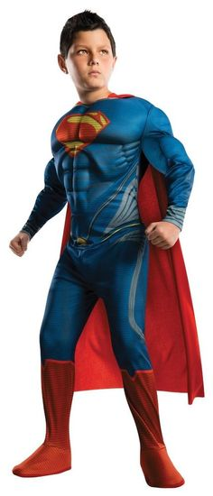 Muscle Chest Jumpsuit Man of Steel Deluxe Superman Children's Costume, Small