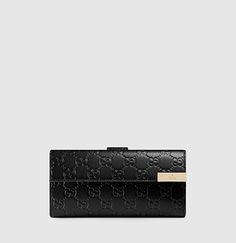 Gucci - portefeuille continental avec plaque de métal gravée de la marque gucci. 257012BMJ1G1000