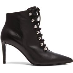 Balenciaga Lace Up Ankle Bootie (1,575 CAD) ❤ liked on Polyvore featuring shoes, boots, ankle booties, booties, high heel ankle booties, lace up ankle boots, lace up boots, short lace up boots and lace up booties