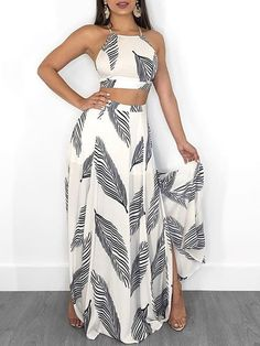 Leaf Print Backless Cami Top & Split Maxi Skirt Set Women Clothes For Cheap, Collections, Styles Perfectly Fit You, Never Miss It! Trend Fashion, Fashion Outfits, Womens Fashion, Fashion Design, Fashion Ideas, Fashion Top, Fashion Inspiration, Ladies Fashion Dresses, Fashion 2018