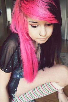 #pink & #black #dyed #scene #hair #pretty