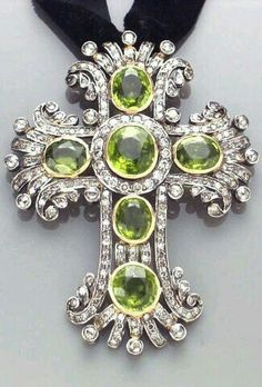 A Peridot Diamond Cruciform Pendant