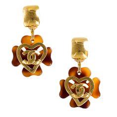 Vintage Chanel Tortoise Shell Drop Earrings with Gold Heart logo