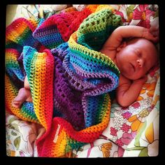 Rainbow 100 Cotton Crocheted Blanket by peacelovecreations on Etsy