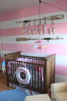 Cute #nautical #nursery for a baby #girl.  #pink #stripewall
