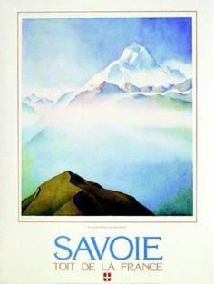 Samivel - Poster Savoie Evian Les Bains, Vintage Ski Posters, Chamonix, Art Deco Fashion, Skiing, Illustration Art, Vacation, Mountains, Beach