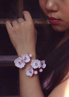sakura cuff, cherry blossom bracelet