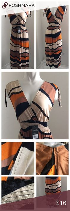 """New - Summer Maxi Dress Please read description before you buy. Medium full length 49"""", underarm to underarm 16.5"""", under bust line 12"""" stretches to 18"""" due to the elastic waist. XL - will fit Large. Full length 51"""", underarm to underarm 17"""", under bust line stretches to 20"""" due to the elastic waist. Color black, brown & dark orange. 65% Silk 35% Polyester. Stitches quality 70% but wearable. Please ask questions if you are not sure. Dresses Maxi"""