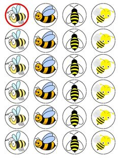 X24 HONEY BEE / BUMBLE BEE CUP CAKE TOPPERS DECORATIONS ON EDIBLE RICE PAPER in   eBay Bee Activities, Edible Rice Paper, Bee Art, Themed Cupcakes, Bee Theme, Monsters Inc, 1st Birthday Parties, Cupcake Toppers, Avengers
