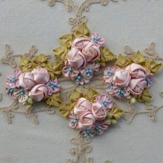 Pink Silk Satin Petaled Flowers and Roses With French Blue Pips