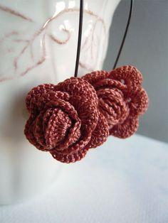 Crocheted Earrings Harvest Rose Handmade Jewelry
