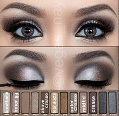 By Cristina Underwood. Get the look! Follow the steps on the photo using Urban Decay's Naked Palette. Finish with gel eyeliner in black, mascara and falsies.     *this is not my work* | Source is Instagram | Makeup by @vegas_nay    #eyes #sexy #tutorial #pictorial #makeup #smokey #grey #black #liner #gel #nightout #urbandecay #nakedpalette #palette  @Bloom.COM