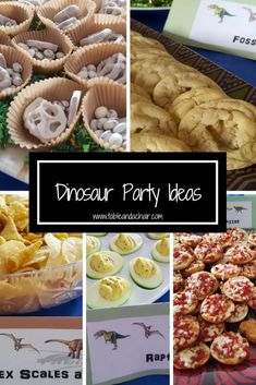 Ulitmate Easy Dinosaur Birthday Party Plan Here is a guide on how to throw an easy dinosaur birthday party. The food is all very easy and kid-friendly which leaves plenty of time for fun and games. Birthday Party Snacks, Birthday Party Tables, Snacks Für Party, Boy Birthday Parties, Birthday Games, Birthday Chair, Party Hats, Elmo Party, Mickey Party