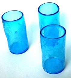 Vintage Blenko Blue Crackle Pinch Drinking Glass by FeelzLikeHome, $33.00