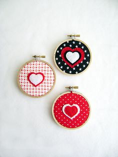 Fabric Wall Art  Retro Red  Bubbles of Love  by RedMarionette, $10.00
