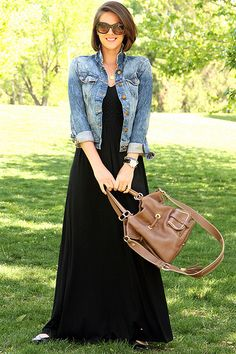 Black Dress via whatiwore. We love the way this Long Black Dress is style! via whatiwore. You could do the same with theWe love the way this Long Black Dress is style! via whatiwore. How To Wear Denim Jacket, Dress With Jean Jacket, Black Skirt Outfits, Casual Outfits, Cute Outfits, Black Maxi Dress Outfit Ideas, Dress Black, Hijab Casual, Casual Hair