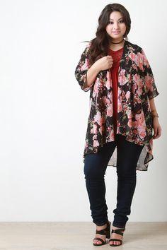 05a86863f1 Floral Chiffon Draped Open Front Kimono Cardigan. Plus Size ...