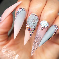 18 Pointy Nails Designs You Can't Resist To Copy ★ Colorful Ombre Designs for Bright Look Picture 3 ★ See more: http://glaminati.com/pointy-nails/ #pontynails #pointynaildesigns
