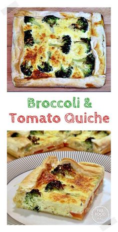 Broccoli & Tomato Quiche using puff pastry sheet so quick and easy! Fab Food 4 All