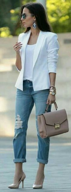 Casual blazer outfit for women - Fashionetter Mode Outfits, Fashion Outfits, Fashion Trends, Fashion Clothes, Fashion Ideas, Blazer Fashion, Jean Outfits, Heels Outfits, Fashion Styles