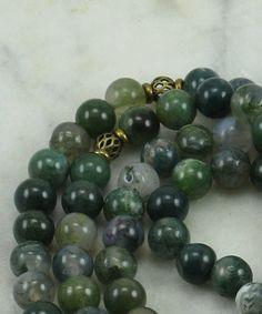 Dryad Mala Necklace 108 Moss Agate Malas Beads by SaltSpringMalas