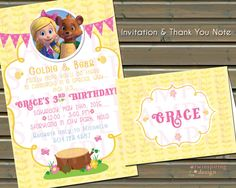 Goldie & Bear Birthday Invitations and/or Thank You Notes by TwinspiringDesign on Etsy