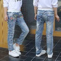 [ 32% OFF ] New Girl Jeans Casual Print Floral Denim Trousers Kids Elastic Waist Straight Jeans New Fashion Kids Denim Pants