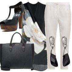 Semplice: indossare un paio di pantaloni chino bianchi, una casacca lunga nera con un bel fiore, sandali con zeppa in legno e plateau , una shopping bag e un bel paio di orecchini. Eleganza semplice.