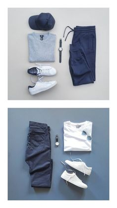 Two weekend fits. Smart Casual Outfit, Stylish Mens Outfits, Casual Outfits, Blazer Outfits Men, Modern Mens Fashion, Herren Outfit, Men's Wardrobe, Men Style Tips, Mens Clothing Styles