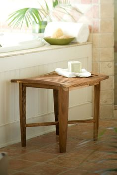 Decoteak Classic Teak Corner Spa Shower Stool For the Home
