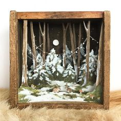 A tiny x commission for one of my most generous, kind-hearted, philanthropic clients. D, thanks for being a force of good in… Christmas Shadow Boxes, Christmas Art, Christmas Decorations, Shadow Box Kunst, Shadow Box Art, Diy Arts And Crafts, Paper Crafts, Diy Crafts, Arte Assemblage