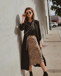 How to Make Animal Prints a Staple in your Closet - Take Aim Michelle Madsen from Take Aim in LA street style wearing silk leopard skirt and black jacket Style Outfits, Mode Outfits, Fall Outfits, Casual Outfits, Fashion Outfits, Indie Rock Outfits, Sweater Outfits, Summer Outfits, Fast Fashion