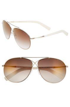 Women's Tom Ford 'Eva' 61mm Aviator Sunglasses - Rose Gold/ Ivory/ Brown/ Gold