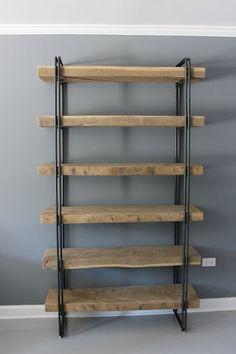 Reclaimed Wood Bookcase Shelving Unit Storage di DendroCo su Etsy