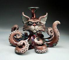 OctoPussy Cat pottery folk art raku sculpture by face jug maker, Grafton