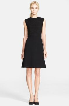 Tory Burch 'Roberta' Guipure Lace & Merino Wool Blend A-Line Dress available at #Nordstrom
