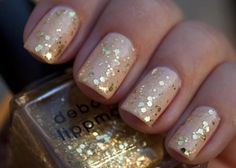 Nude and Gold glitter Nails!