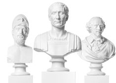 Pericles, Julius Caesar, and William Shakespeare white on white statues for Upton MMXV Campaign.