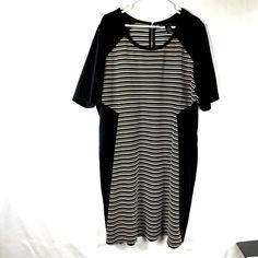 934a084919cb6 Lane Bryant Women s Color Block Stripe Dress Size 22 24 Short Sleeve Black  78P