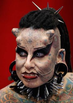 Most Modified - Maria Jose Cristerna is a Mexican tattoo artist who is often referred to as the Vampire Lady.